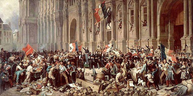 Lamartine devant l'Hôtel de Ville de Paris le 25 février 1848 refuse le drapeau rouge