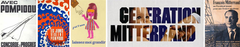 Affiche électorale, De Gaulle, Pompidou, Mitterand